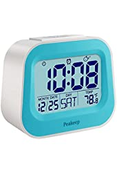 Peakeep Nature Sounds Children Alarm Clock with Adjustable Nap Time, Dusk to Dawn Activated Backlight, AC Powered and Battery Backup