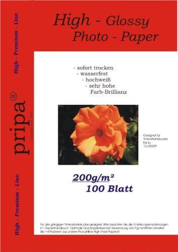 pripa 100 Blatt Fotopapier A4, 200g/qm, high -Glossy glaenzend -sofort trocken -wasserfest-hochweiß-sehr hohe Farbbrillianz, Fuer Inkjet Tinten Drucker
