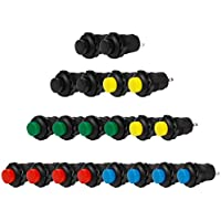 Andux Space オルタネイト 押しボタンスイッチ ON/OFF 20個セット ANKG-03(装着内径12mm) (赤、緑、黄、青、黒)