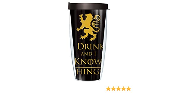 ece39219c0e Amazon.com: I Drink and I Know Things 22oz Mug Tumbler Cup with Black Lid:  Kitchen & Dining