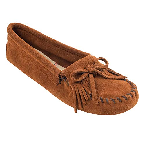 Minnetonka Women's Kilty Suede Softsole Moccasin,Brown,8 M US