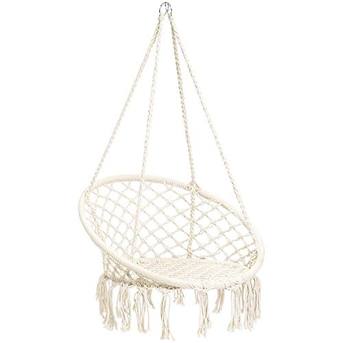 CCTRO Hammock Chair Macrame Swing,Boho Style Rattan Chair Hanging Macrame Hammock Swing Chairs for Indoor/Outdoor Home Patio Porch Yard Garden Deck,265 Pound Capacity (C White) ()