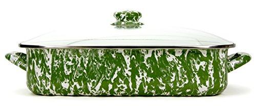 Enamelware -Green Swirl Pattern -16 x 12.5 x 4 inch Lasagna Pan Set