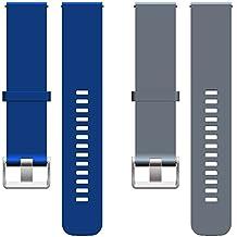 ECSEM 2pcs 20mm Replacement Bands Straps for Ticwatch 2 Smartwatch (Charcoal, Snow, Oak, Onyx)