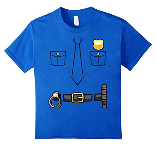 Kids Policeman Costume T-Shirt | Halloween Outfit Shirt Tee 6 Royal Blue (Girls Police Outfit)