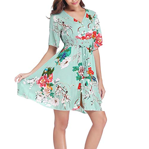 (Nantersan Women's Boho V-Neck Button Up Split Floral Print Flowy Party Dress Green )