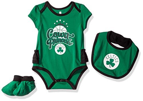 NBA by Outerstuff NBA Newborn & Infant Boston Celtics Mini Trifecta Bodysuit, Bib & Bootie Set, Kelly Green, 0-3 Months (Snap Celtics Boston)