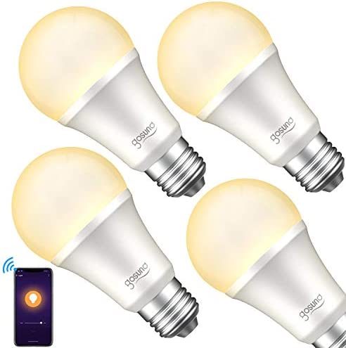 Smart Light Bulb, Gosund Dimmable WiFi LED Light Bulbs That Works with Alexa Google Home Siri, E26 A19 Warm White 2700K Bulb, No Hub Required, 8W (75W Equivalent), 4pack