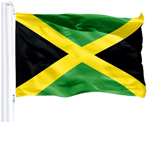 G128 - Jamaica (Jamaican) Flag | 3x5 feet | Printed 150D - Indoor/Outdoor, Vibrant Colors, Brass Grommets, Quality Polyester, Much Thicker More Durable Than 100D 75D Polyester