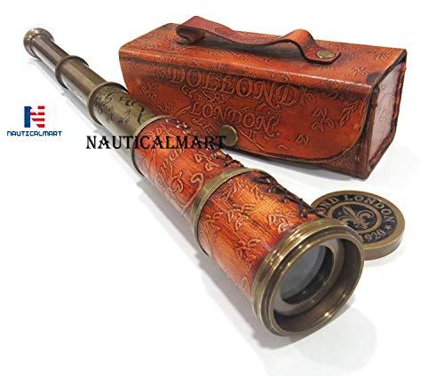 Leather Telescope Marine Nautical Antique Brass Pirate Spyglass Vintage Scope from NauticalMart