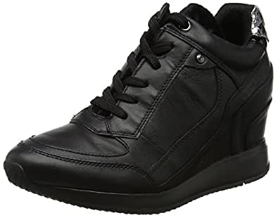 GEOX D Nydame A Womens Wedged Heeled Nappa Leather Trainers/Boots -Black-10