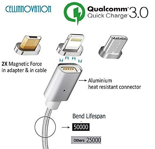 Cellinnovation 5-ft 3 in 1 Magnetic Qualcomm 3.0 Rapid Charging & Android USB Multi Cable - Certified by CE, FCC and RoHS - Type-C, Micro USB, i-Product Interface High-Speed Nylon Charging Cable