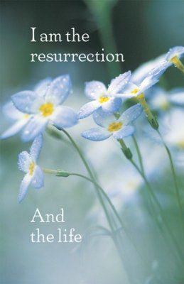 Bulletin-Funeral-Light Blue Flowers/I Am The Resurrection And The Life