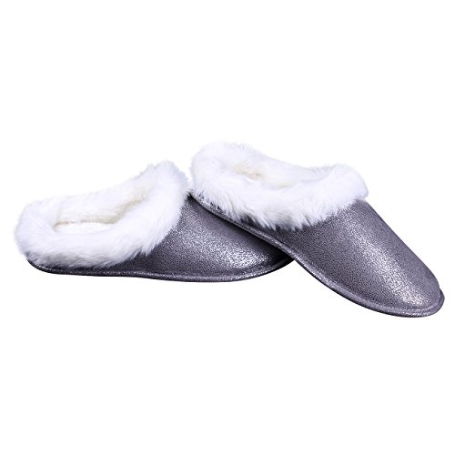 Grey Ofoot Comfy Lining Super Slippers Memory Women's Slip Shoes Fur Soles Anti Thickly Faux Warm Padded Winter Foam TPR FzrUq8xF