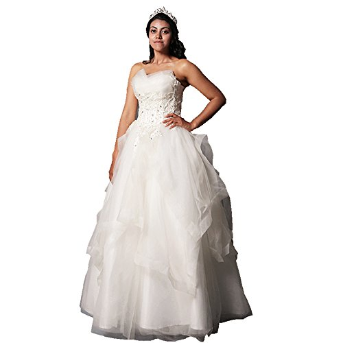 wedding dress lace up draped sweetheart appliques beading floor-length White Organza wedding (Organza Sweetheart Floor)