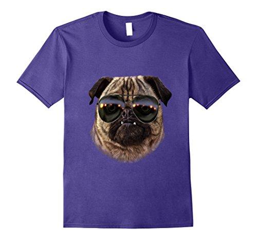 Mens T-Shirt, Swag Grumbling Pug in Aviator Sunglass, Dog Large - Aviator Pugs Sunglasses