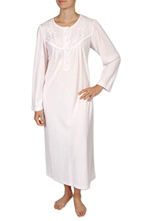 9dafe06428 Miss Elaine Women s Long Nightgown - Brushed Honeycomb Knit Material. with Long  Sleeves
