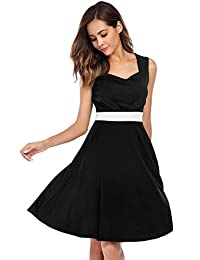 ACEVOG Vintage Sleeveless 50s Swing Bowknot Rockabilly Dress for Women