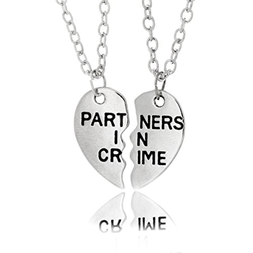Prime Amazon Day Partners in Crime Necklace, Split Two-Piece Chain Heart Pendant Silvertone Necklace
