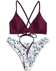 Zaful Sexy bikini voor dames, met zonnebloemprint, met veters, Criss Cross hoge snit