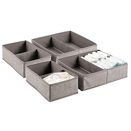 mDesign Soft Fabric Dresser Drawer and Closet Storage Organizer Set for Child/Kids Room, Nursery, Playroom, Bedroom - Rectangular Organizer Bins with Textured Print - Set of 4 - ()
