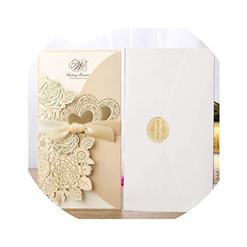 qiao-qiao-store 50pcs Cut Wedding Invitations Card Rose Love Heart Greeting Cards Customize Envelopes with Ribbon Wedding Party Supplies-in Cards & Invitations from Home & Garden,one Set Gold,113x from qiao-qiao-store