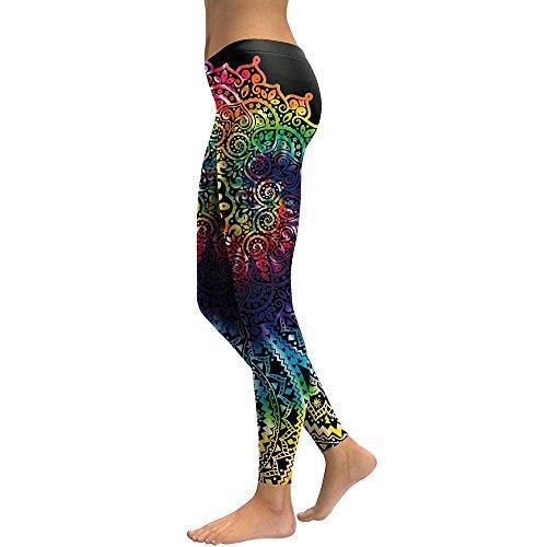 MAYUAN520 Collants Fleur Mandala Gradient d'impression 3D Remise en Forme Legging taille haute Pantalon Pantalon Leggins