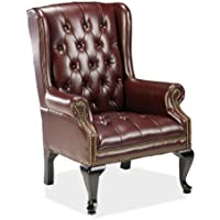 Lorell(R) Queen Anne Wing-Back Reception Chair, 39 1/2in.H x 29in.W x 31in.D, Oxblood/Mahogany