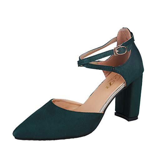 Sunhusing Women's Suede Sexy Cross Straps Belt Buckle Pointed Toe Thick with Single Shoes Casual Work Shoes Green - Cross Cable Instrument