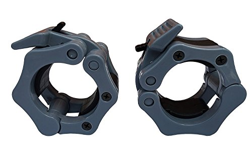 Quick Release Pair of Locking 2' Olympic Size Barbell Clamp Collar Great for Pro Training by Clout Fitness (Gray)