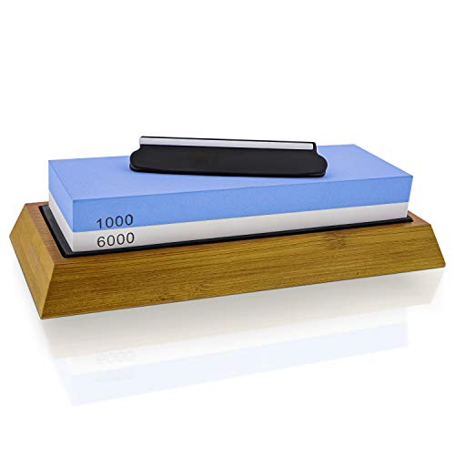 Stone and Steel Knife Sharpening Whetstone Kit with 1000/6000 Grit Sharpener, Angle Guide, Silicon Mount, Non-Slip Base, PDF and Video Instructions