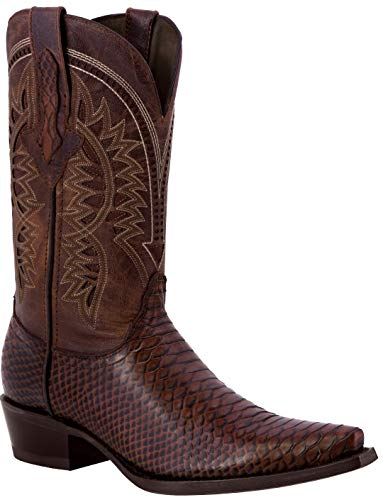 Texas Legacy - Mens Chedron Snake Western Wear Cowboy Boots Pattern Leather Snip Toe 9 2E US