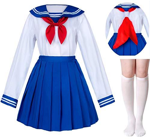Japanese School Girls Sailor JK Uniform Bule Pleated Skirt Anime Cosplay Costumes with Socks Set(SSF31) 2XL