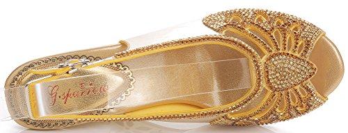 Rhinestone High Toe Pretty Party L027 Performance Womens heeled Bridemaid wedge Leisure Beautiful Stilettos Shoes Bride Dress Work Black Peep Job Glaring Wedding Sandals Salabobo qXS8Eww