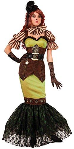 [Forum Novelties Women's Steampunk Fairytales Siren Costume, Green/Brown, Medium/Large] (Punk Fairy Costumes)