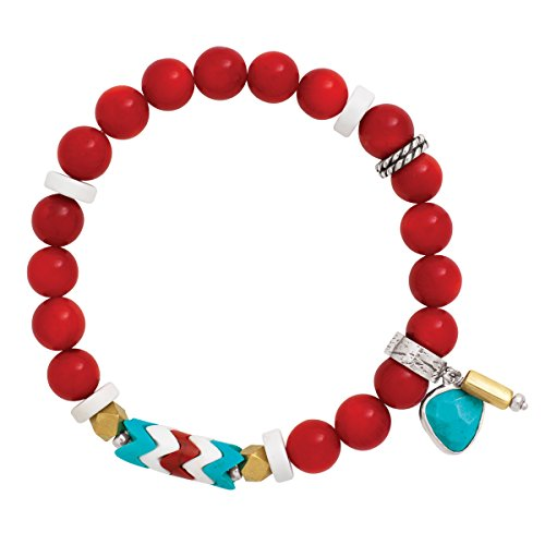 Silpada 'Under The Sun' Natural Coral And Howlite Stretch Bracelet In Sterling Silver And Brass, 6.75″
