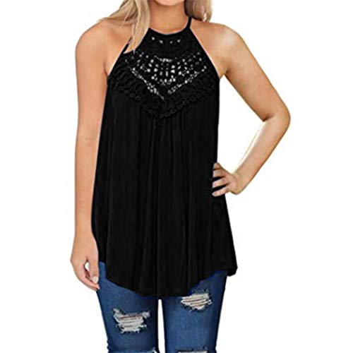 T-shirt Patch Sleeveless - rateim Women Casual Halter Neck Sleeveless Hollow Out Patchwork T-Shirt Tanks & Camis Black