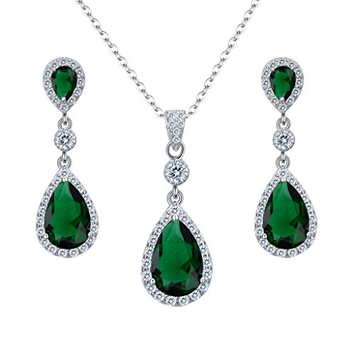 EleQueen 925 Sterling Silver Full Cubic Zirconia Teardrop Bridal Pendant Necklace Dangle Earrings Set Emerald Color ()