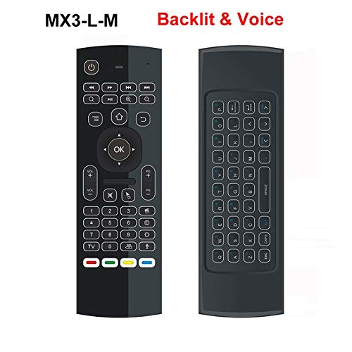 Calvas MX3 MX3-L Backlit Air Mouse 2.4G RF keyboard Wireless for X96 mini A95X H96 pro T9 Android TV Box - (Color: Backlit with Voice)