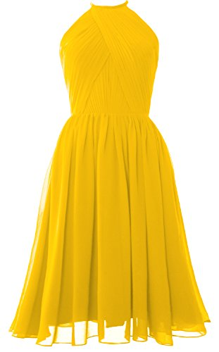 MACLoth Women Halter Chiffon Cocktail Dress Short Bridesmaid Gown with Open Back Amarillo