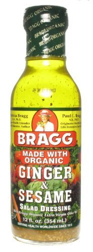 Bragg Organic Ginger and Sesame Salad Dressing 12 Oz (Pack of 3) by Bragg