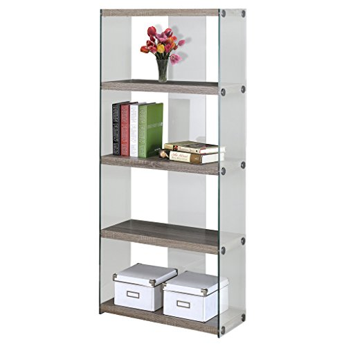 Contemporary Wood Display Cabinet (Monarch specialties I 3060, Bookcase, Tempered Glass, Dark Taupe, 60