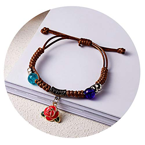 - Fashion Bracelets Leather Handmade Female Punk Jewelry Shell Emoji Love Rose Flower Bracelet for Women,Rose Flower
