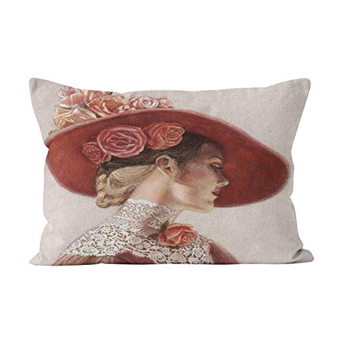 (Suike Elegant Victorian Lady Floral Roses Hat Beauty Hidden Zipper Home Decorative Rectangle Throw Pillow Cover Cushion Case Boudoir 12x20 Inch One Side Design Printed Pillowcase)