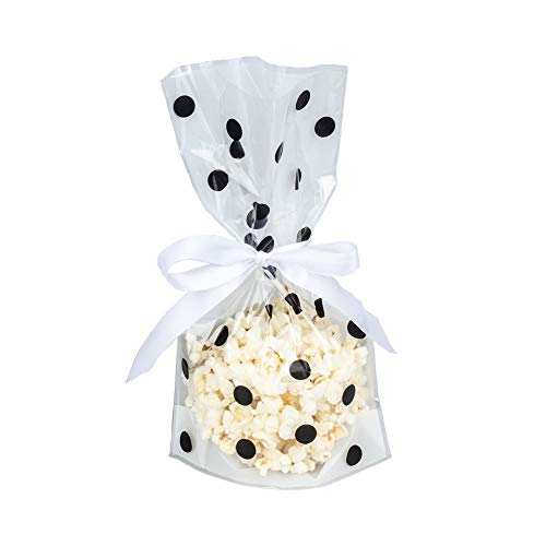 We Moment Clear Cello cellophane Candy Plastic Favor Treat Bags,Black Polka Dot,Pack of 50