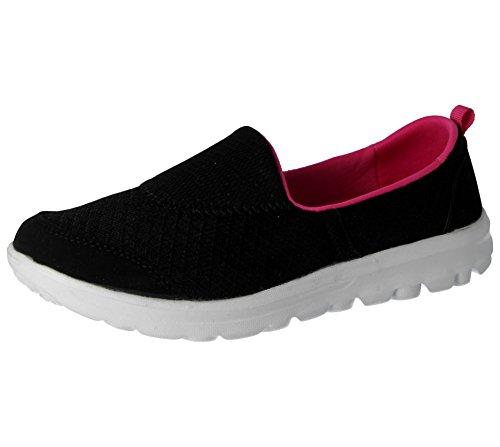 Foam 3 Flats Comfort Ballet Slip Memory 8 Fuchsia Mesh Black Ladies ELLA Trainers Size On Go Pumps Flexi Shoes RqZx8Ezwv