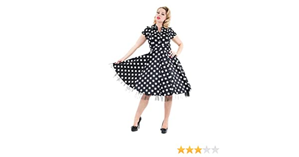 dae5044d8e Amazon.com: H&R London 50's Housewife Dress Black White Big Polka Dot:  Clothing