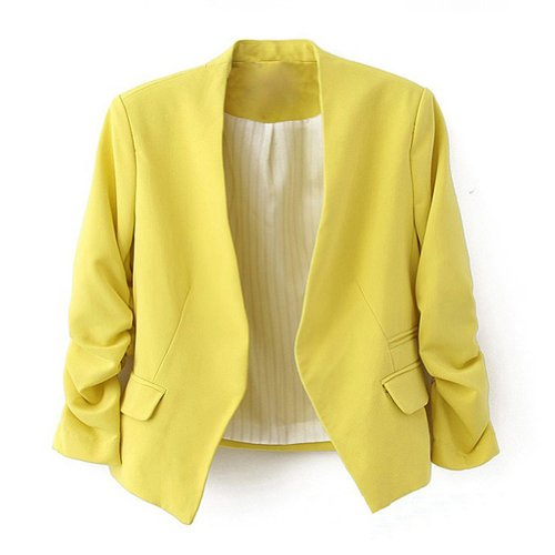 Ninimour- Korea Style Women's Blazer Jacket Suit Work Casual (L, Yellow)
