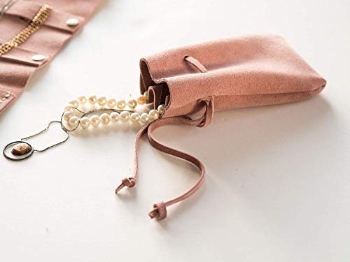 (Pale Pink Leather Jewelry Pouch, Suede Money Pouch, Bridesmaid Gifts, Necklace case, Travel jewelry Pouch, Ring Box, Gift for her coin bag)