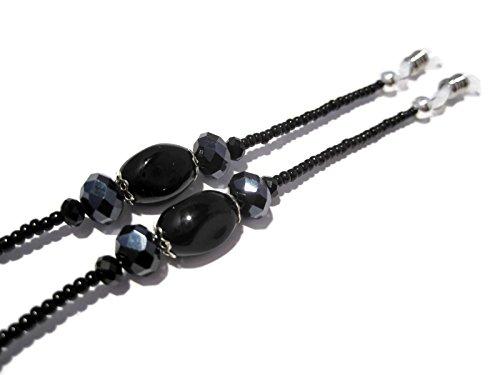 ATLanyards Basic Black Beaded Eyeglass Holder - Black Eyeglass Chain - Eyeglass Lanyard